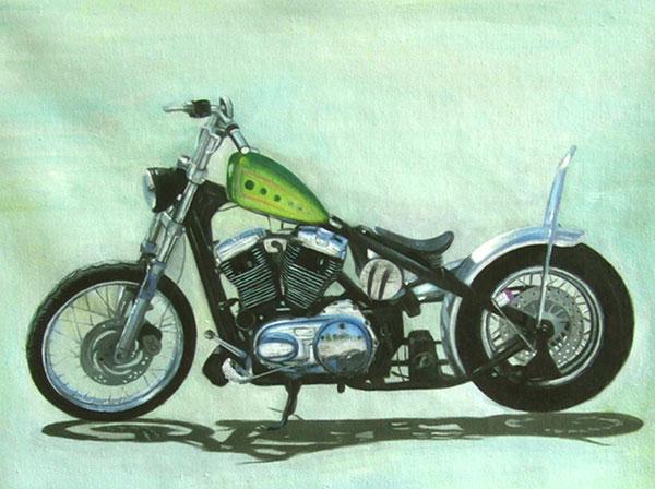 Custom oil handmade painting of a green gas tank bike