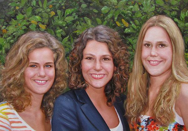 drie vrouwen olieverfschilderij