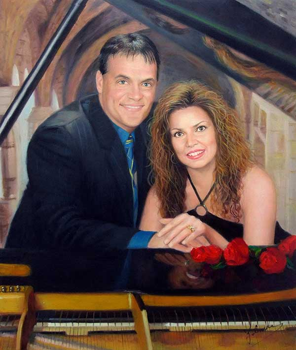 custom oil painting of couples that love music piano