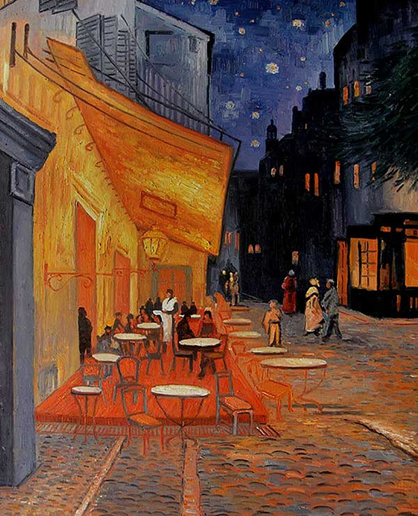 photo to painting of your favorite cafe at night