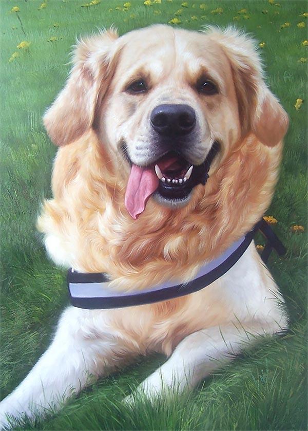 Hundeportrait gemalt in Öl