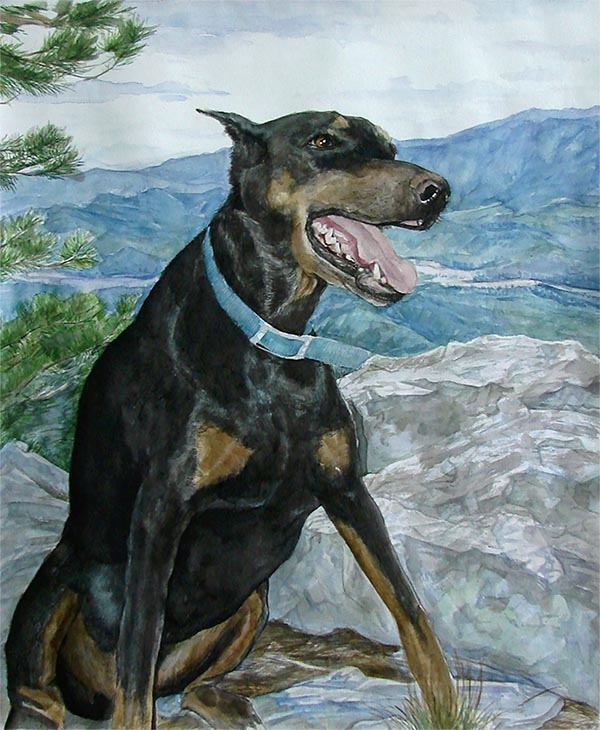 dog canvas painting in watercolor