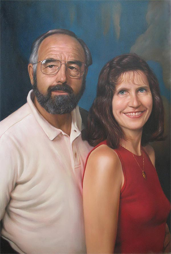 an oil paintying of a couple