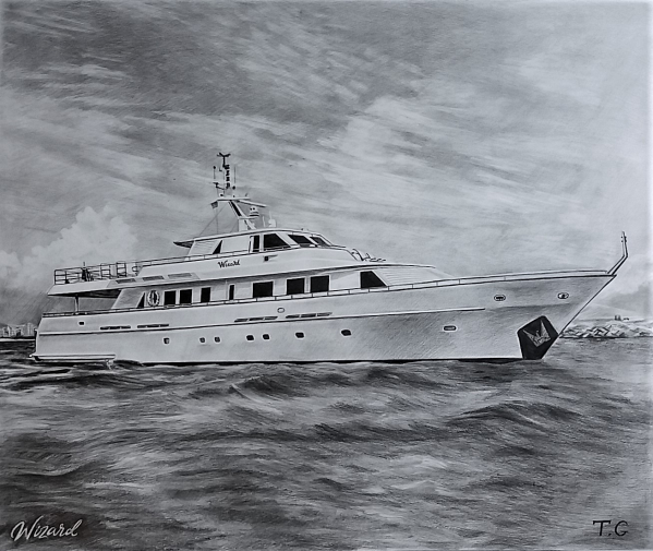 custom pencil drawing of a yacht on the ocean