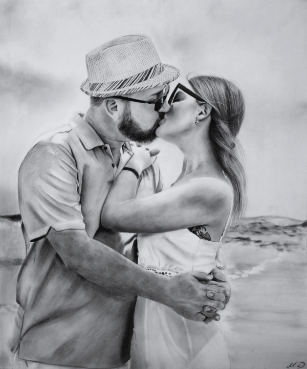 Beautiful charcoal drawing of a couple kissing