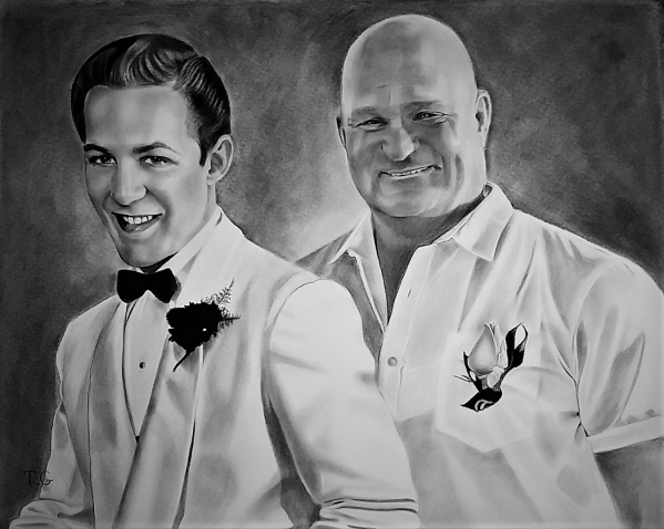 Custom handmade charcoal painting of two adults
