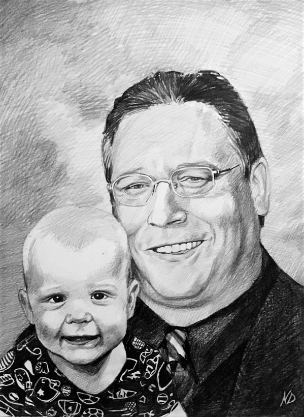 Custom handmade charcoal painting of a man with a baby