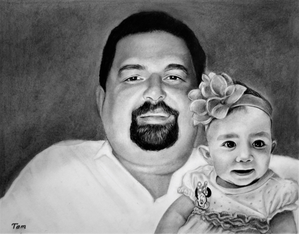 Custom handmade charcoal painting of a father and daughter