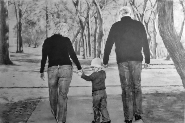 Beautiful black pencil painting of a family