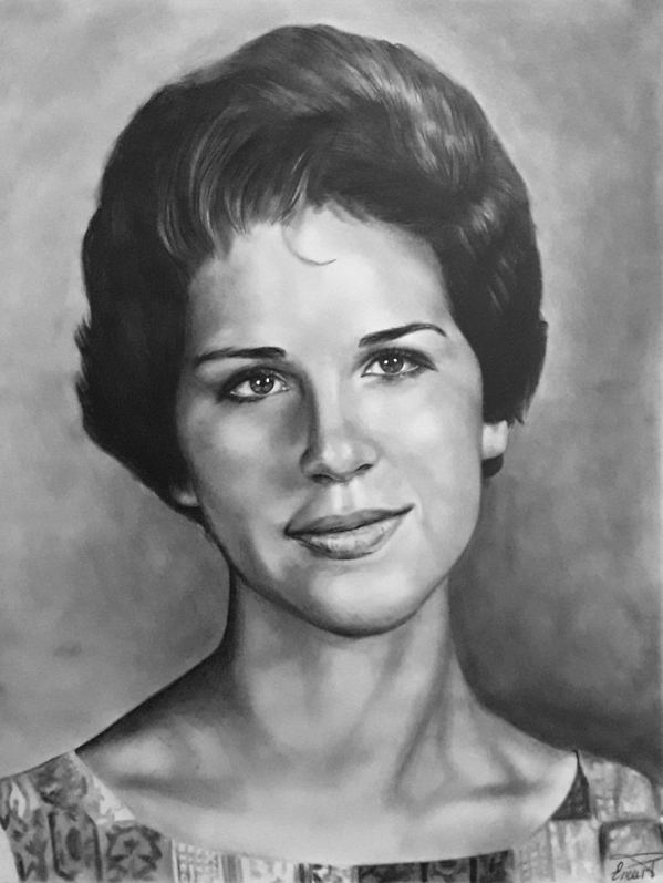 custom pencil drawing of a woman with soft features