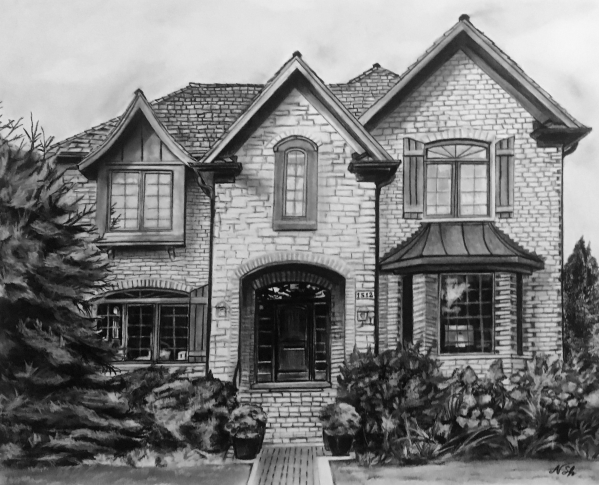 big house portrait in charcoal