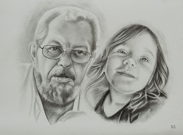 Gorgeous black pencil artwork of a grandfather and grandkid