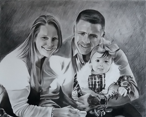 Beautiful charcoal painting of a couple with child