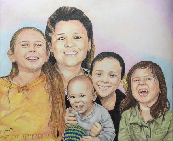 Gorgeous color pencil painting of a happy family