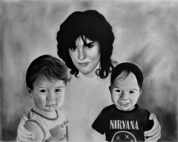 Beautiful charcoal painting of a mother and two sons