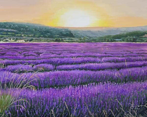 Gorgeous handmade pastel artwork of a landscape