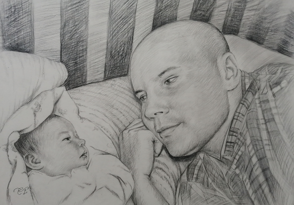 Gorgeous charcoal painting of a father and child
