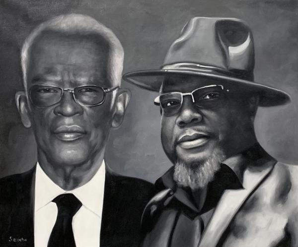 Handmade vintage oil portrait of two men