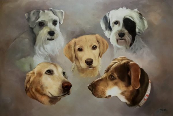 five dogs painting