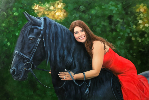 Gorgeous handmade oil painting of a lady with horse