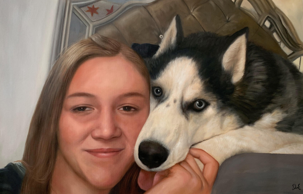 Beautiful acrylic painting of a girl and a dog