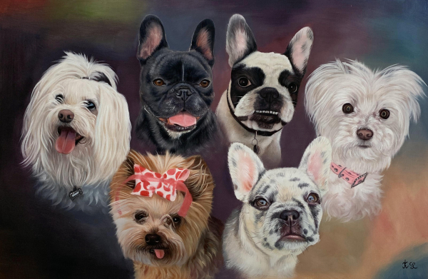 Beautiful custom oil painting of the dogs