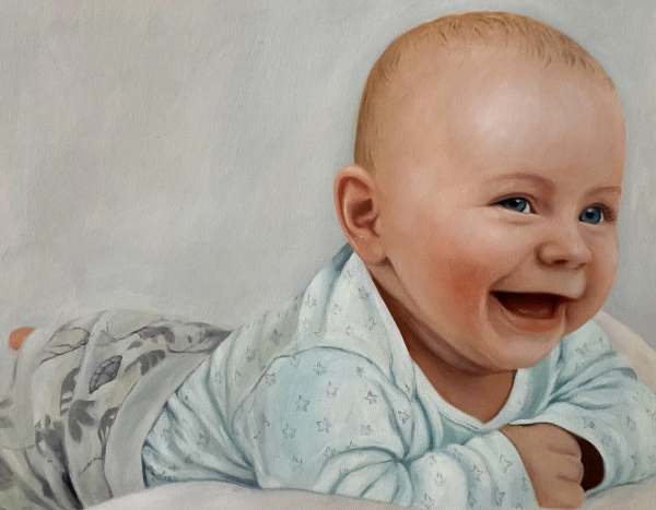 Custom handmade oil portrait of a baby