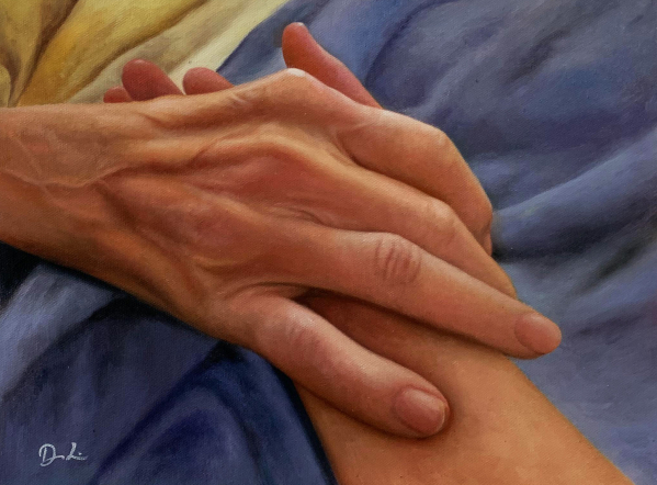 Gorgeous handmade oil painting of holding hands