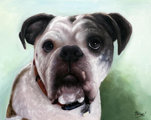 Custom handmade acrylic painting of a dog
