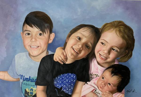 Beautiful handmade oil artwork of children