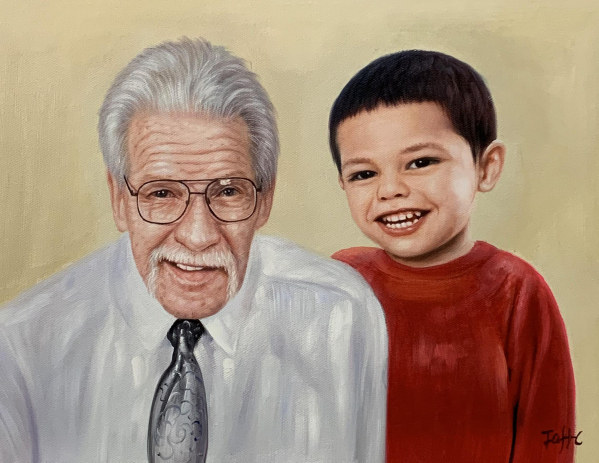Gorgeous oil painting of a grandfather and a grandson