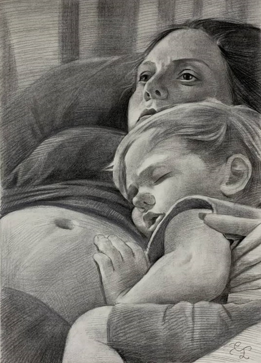 Beautiful charcoal painting of a mother and daughter