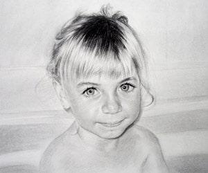 Custom Charcoal Child Portraits
