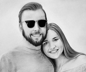 Custom Charcoal Couples Portraits