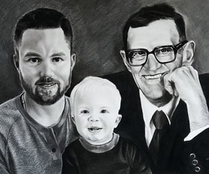 Custom Charcoal Family Portraits