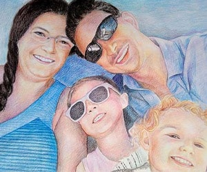 Family Color Pencil Drawings