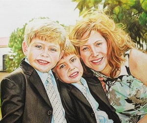 Parent and Child Color Pencil Drawings