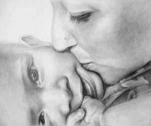 Parent and Child Black Pencil Drawings