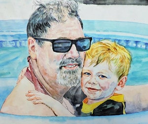 Custom Watercolor Parent and Child Portraits